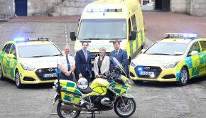 National Ambulance Service (NAS) has introduced 91 new vehicles into its services during 2017. Picture shows Martin Dunne, Director of the HSE National Ambulance Service; Simon Harris TD, Minister for Health; Joan Regan, Department of Health and Liam Woods, National Director, Acute Hospitals, HSE. Image Credit: Sasko Lazarov / Photocall Ireland