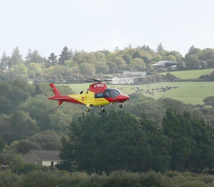 Air Ambulance Close To Lift-Off