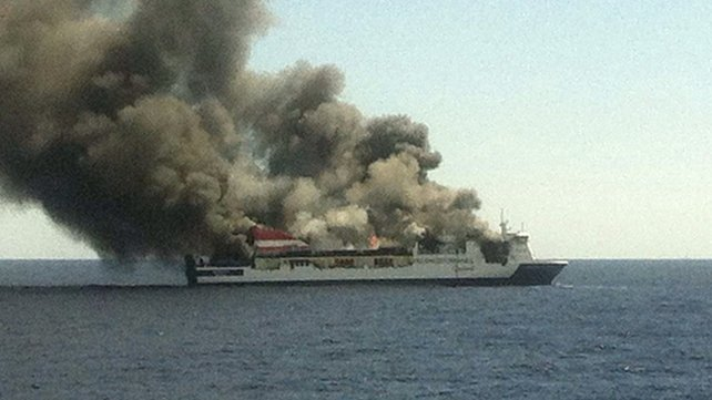 Spanish Emergency Services Rescue Over 150 Passengers From Burning Ferry.